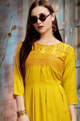 Wholesale Ethnic Party Style Frill Rayon Foil Printed Kurti Collection
