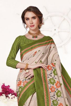 Wholesale Event Wear Cotton Simple Printed Saree With Blouse Piece Collection