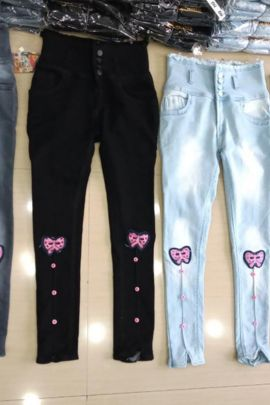 Wholesale Fancy Wear Embroidery Work Denim Hight Waist Jeans Collection