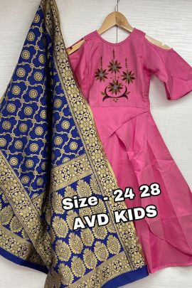 Wholesale Festive Occasional Wear Embroidery Satin Silk Kids Gown With Dupatta