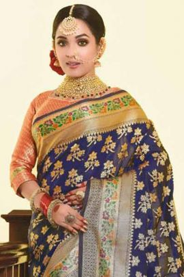Wholesale Festive Occasional Wear Silk Weaved Saree By Sangam Prints