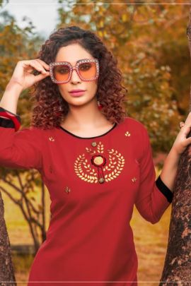 Wholesale Festive Wear Embroided Rayon Slub Kurti Collection