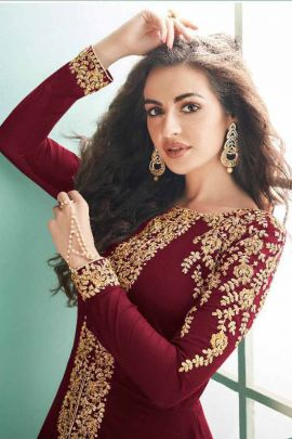 Wholesale Georgette Embroidery Event Wear Indo Western