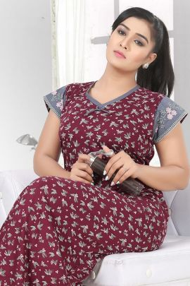 Wholesale Hosiery Cotton Night Wear Printed Night Gown Collection