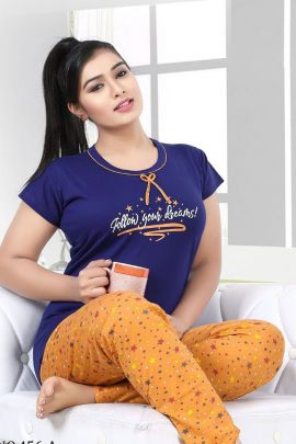 Wholesale Hosiery Cotton Printed Night Wear Night Suit Collection