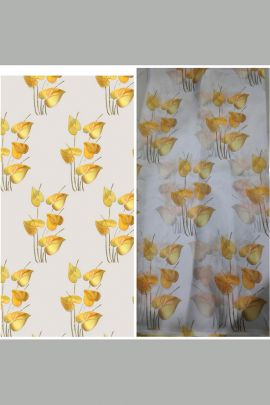Wholesale Leaf Printed Organza Fabric For Garments