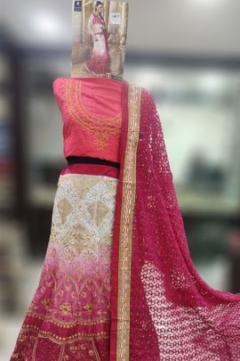 Wholesale Net Fabric With Embroidery Work Wedding Wear Lengha With Dupatta