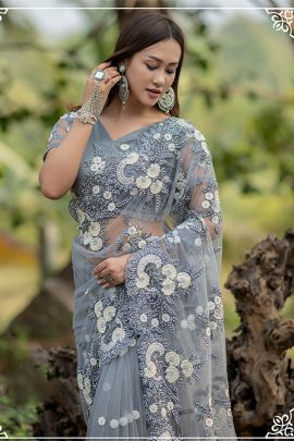 Wholesale Net Hand Work Evening Wear Designer Saree With Blouse Piece Collection