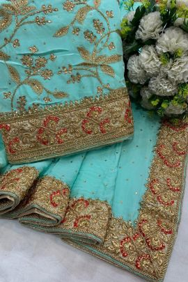 Wholesale Occasional Traditional Wear Embroidery Chiffon Saree And Blouse