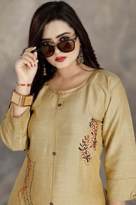 Wholesale Office Wear Embroidery Fancy Fabric Kurti Set