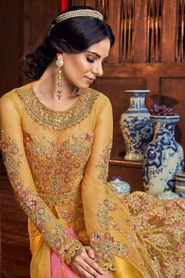 Wholesale Party Wear Embroidery Butter Fly Net Full Length Indo Western Suit Set