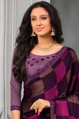 Wholesale Party Wear Printed Chiffon Saree With Blouse Set