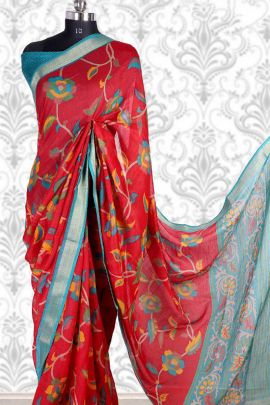 Wholesale Party Wear Printed Cotton Silk Saree With Blouse Set