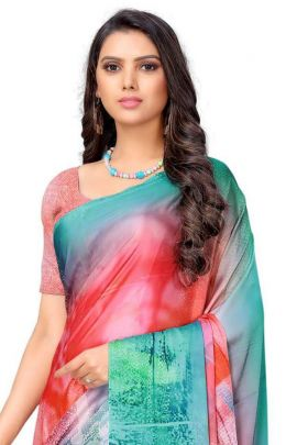 Wholesale Party Wear Printed Satin Saree With Blouse Set