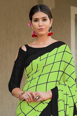 Wholesale Party Wear Printed Satin Silk Saree With Blouse Set