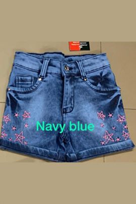 Wholesale Plain Casual Kids Wear Fancy Hand Work Denim Shorts For Girls Collection