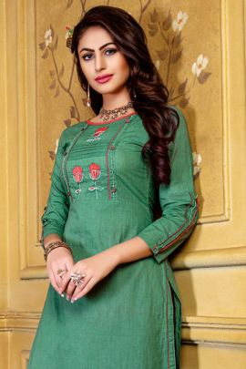 Wholesale Rayon Embroidered Knee Length Kurti With Plazzo Collection