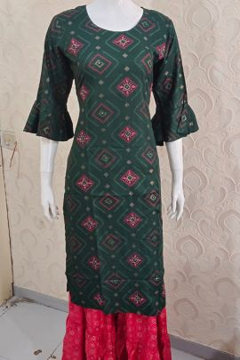 Wholesale Rayon Event Wear Printed Knee Length Kurti With Plazzo Colleciton