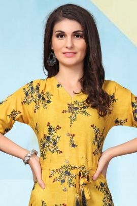 Wholesale Rayon Foil Printed Evening Wear Full Length Veefab Kurti Collection