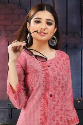 Wholesale Regular Wear Cotton Printed Kurti Set