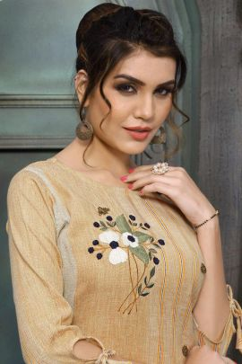 Wholesale Regular Wear Embroidery Viscose Kurti Set