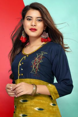 Wholesale Regular Wear Printed Rayon Frok Style Kurti Set
