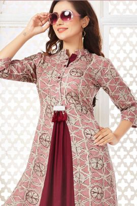 Wholesale Regular Wear Printed Viscose Rayon Kurti Set