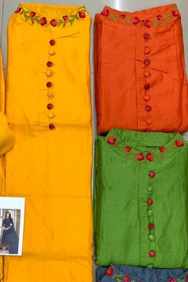 Wholesale Silk Embroidered Knee Length Dress Material With Dupatta Collection