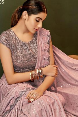 Wholesale Stylish Embroidered Event Wear Mahotsav saree With Blouse Piece Collection