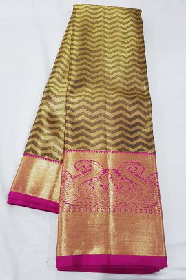 Wholesale Stylish Handloom Tissue Silk South Indian Style Saree With Blouse Piece Set