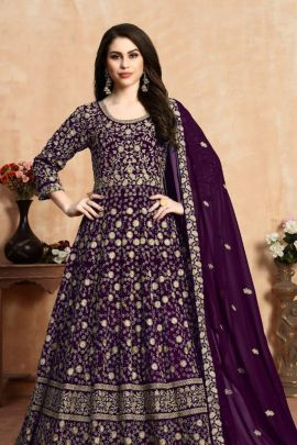 Wholesale Wedding Wear Embroidery Georgette Anarkali Suit Set