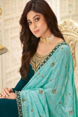 Wholesale Wedding Wear Embroidery Georgette Indo Western Suit Set