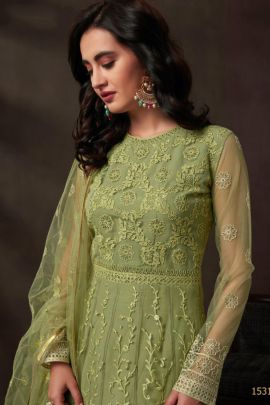 Wholesale Wedding Wear Embroidery Net Gown With Inner And Dupatta Set By Bela Fashion