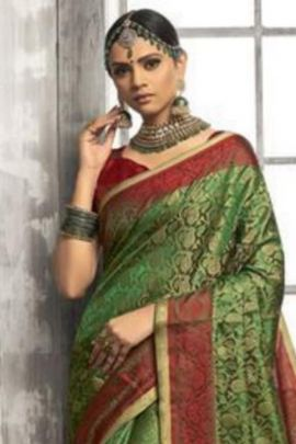 Wholesale Wedding Wear Weaved Cotton Silk Saree With Blouse Set