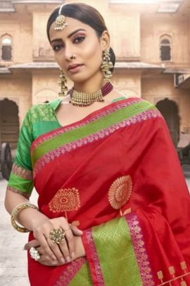 Wholesale Wedding Wear Weaved Silk Saree With Blouse Set