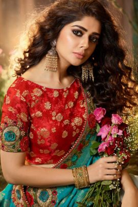 Wholeslale Fancy Fabric Embroidered Lace Brodered Event Wear Desi Luck Saree With Blouse Piece Collection